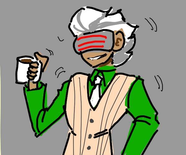 Godot drinking his 16th cup of coffee