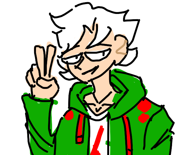 Nagito komaeda doing a peace sign