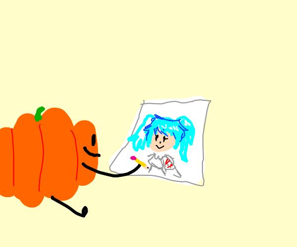 Happy pumpkin draws Hatsune Miku