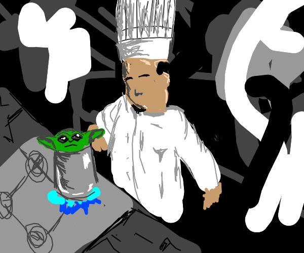 Chef cooks Baby Yoda