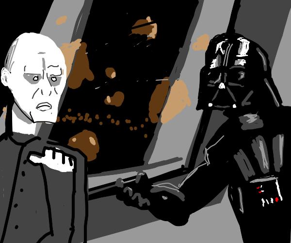 Darth Vader and Voldemort at Villain Meeting