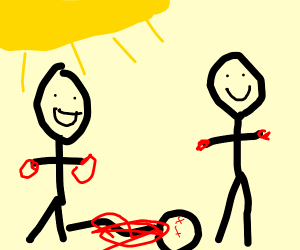 two guys happily looking at a murder
