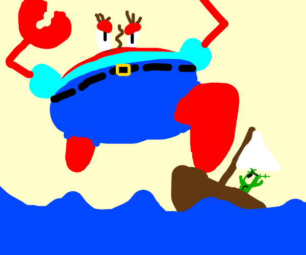 Giant Mr. Krabs destroying a tiny boat