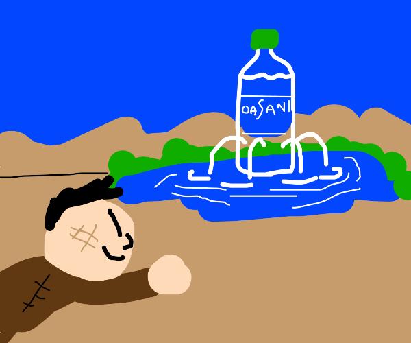 thirsty man in desert sees dasani mirage