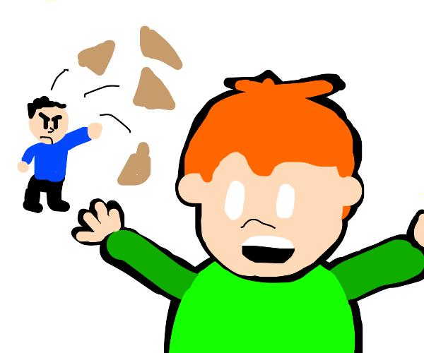 Dude throws wood chips at pico