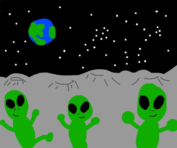 Happy Aliens on the Moon