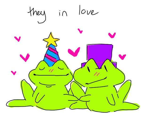 Frogs in love, what will they do