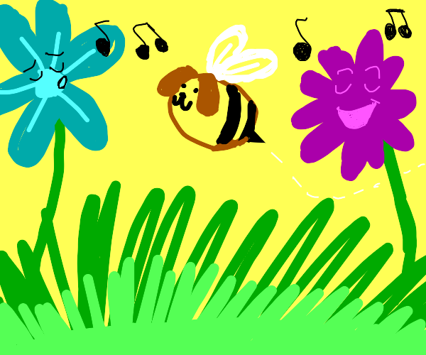puppy-bee and singing flowers