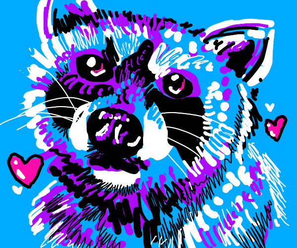 The blue and purple racoon thinks you're nice