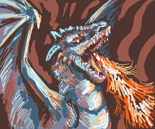 Adult Silver dragon spit fire, wings wide opn