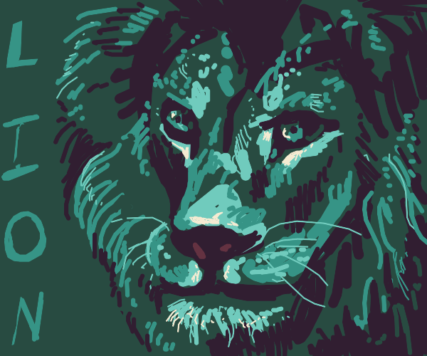 A Lion with the word lion written on it