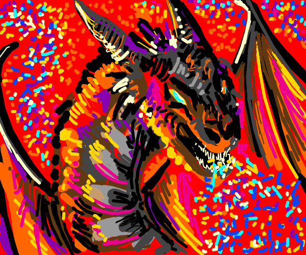 Dragon blows glitter everywhere