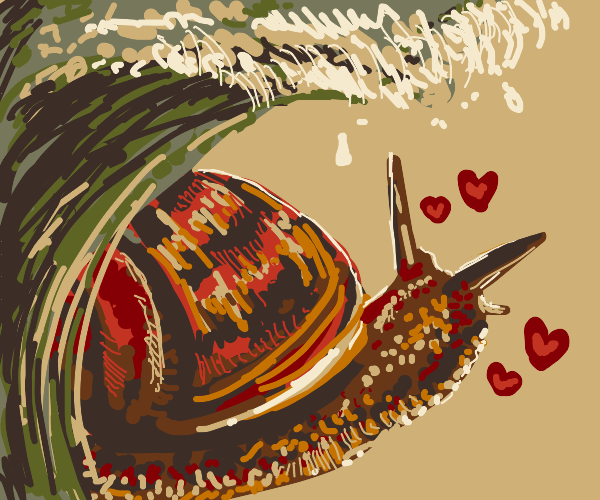 Smitten snail w/ the ocean on its back