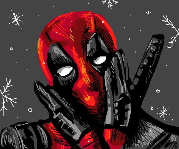 Deadpool in the snowy winter