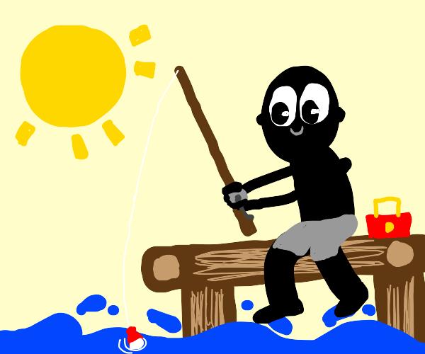 Black dude fishing