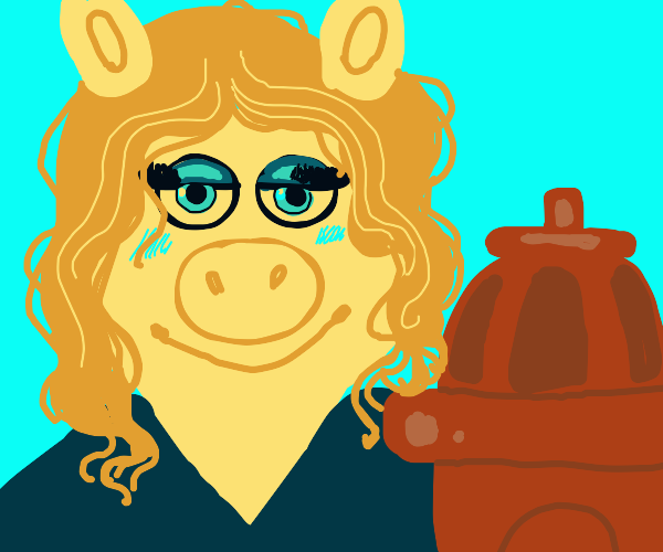 Blonde Pig and fire hydrant