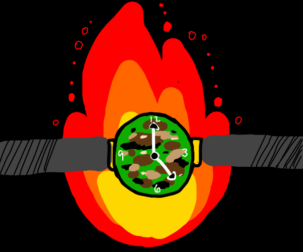 Army Clock With Fire Behind It