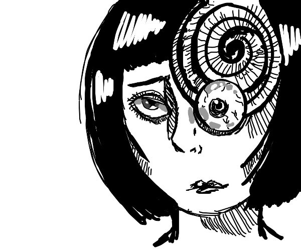 Girl with creepy snake for an eye