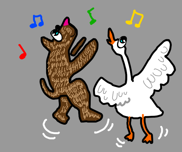 dog and goose dance together