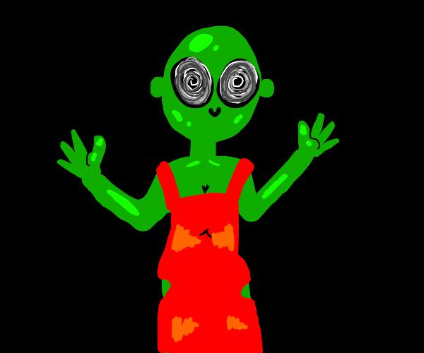 Dizzy alien in a dress