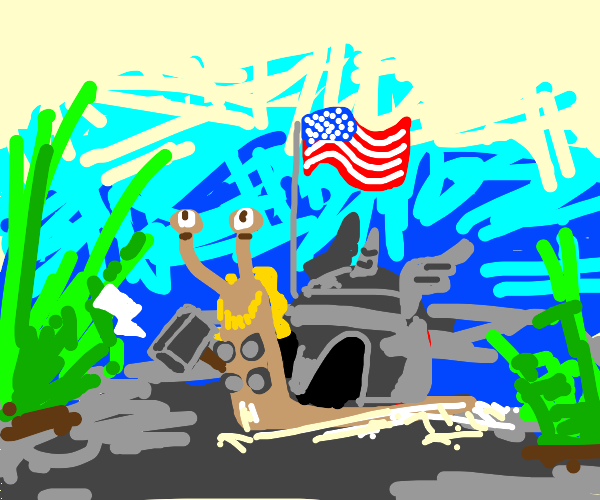 Thor but as a snail and the american flag