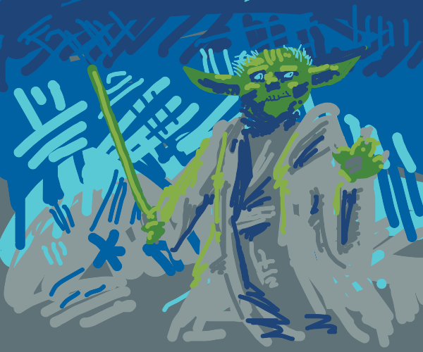 a green alien with a sword