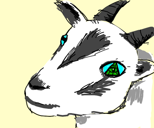 Realistic goat with a Illuminati left eye