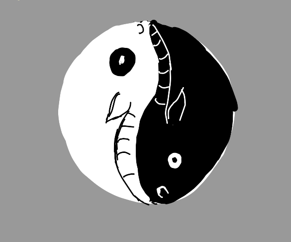 yin yang but its a white bull and black bull