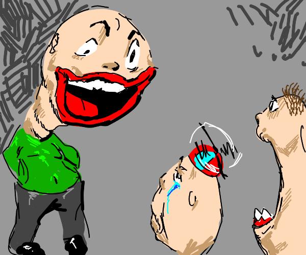 Large headed man upsets kids