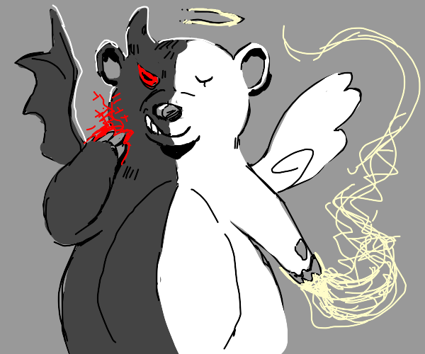 Half-angel half-devil bear
