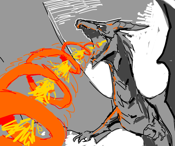 Dragon creates a flaming tornado