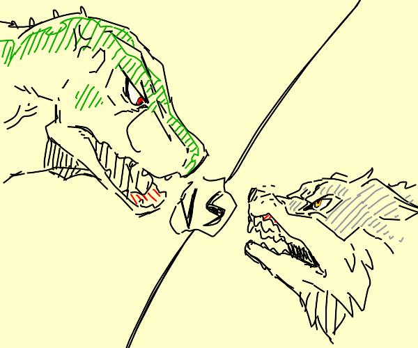 dinosaur vs wolf