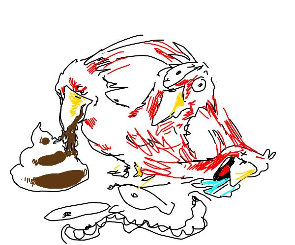Bird eats crap and dies