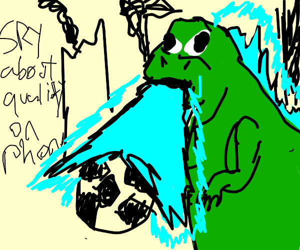 angry godzilla who plays football spits fire