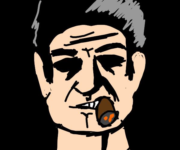 Angry old man smokes on a cigar angrily
