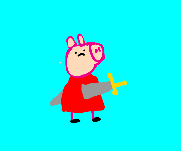 peppa pig with a SWORD