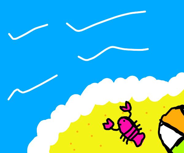 Lobster &  beach ball on  sand, sideways sky
