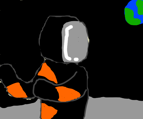 orange and black astronaut with a riffle
