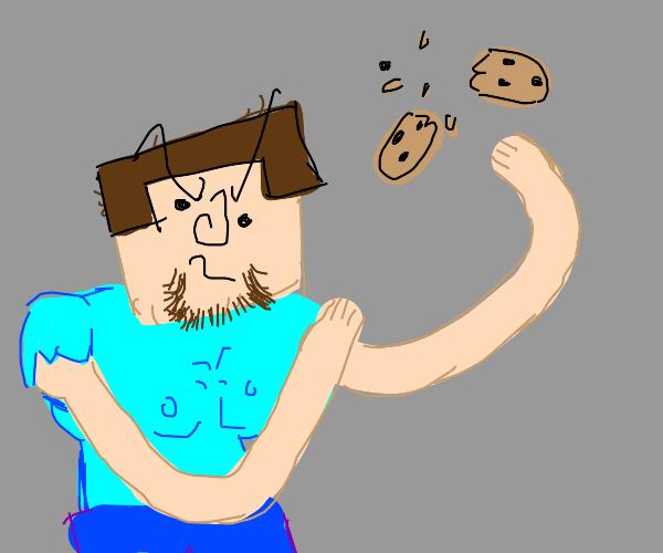 steve no like raisin cookie. steve smash