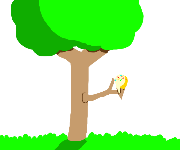 Tree holding an ice cream