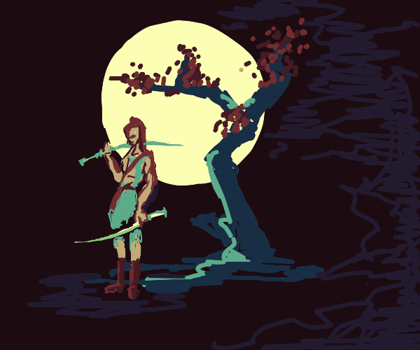 Japanese swordsman in old rags on a full moon