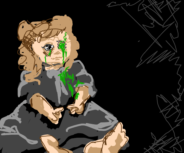 Doll head filled with green slime(lost 1 eye)