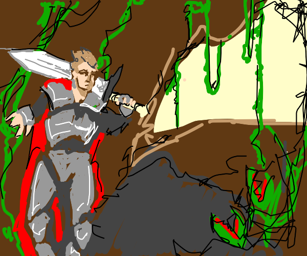 A knight explores the jungle