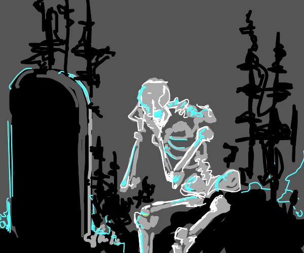 skeleton grieves in front of a gravestone