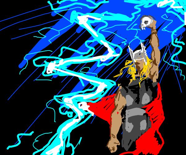 Thor summons lightning with bunny skull