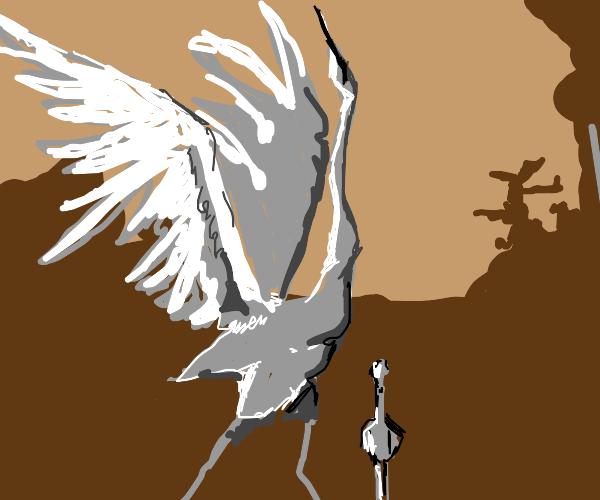 A small bird jealous of his elegant older bro