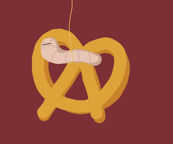 worm on a string in a pretzel