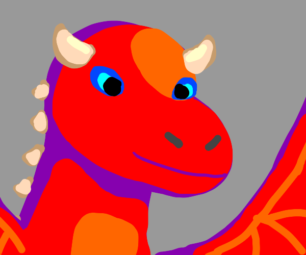 red dragon with blue eyes and horns