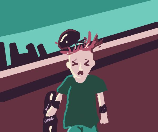 skater boy's head explodes