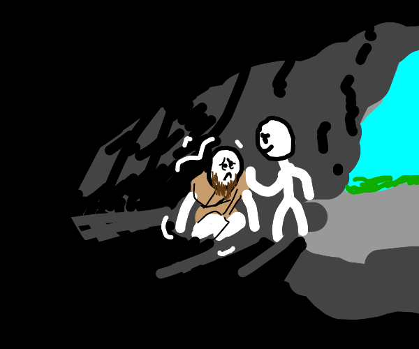 reassuring friend helps scared man in a cave